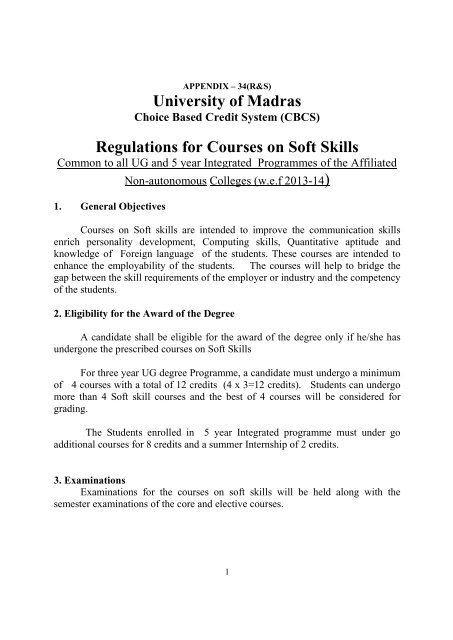 Revised Regulations, Syllabus and Question Paper Pattern for Soft
