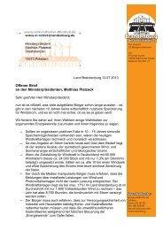 Offener Brief an MP Platzek - BI-Knoten