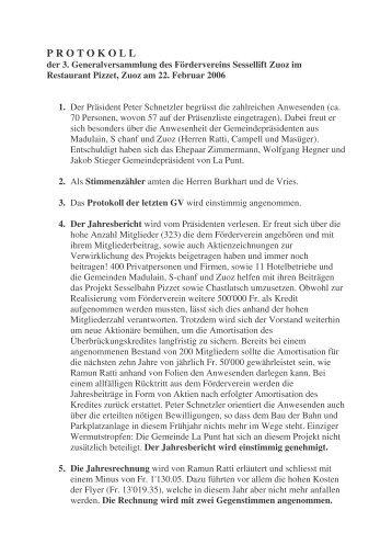 3. Generalversammlung, Februar 2006 - Förderverein Sessellifte Zuoz