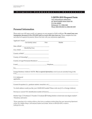 Application for I-20 or DS 2019 Form - International Programs