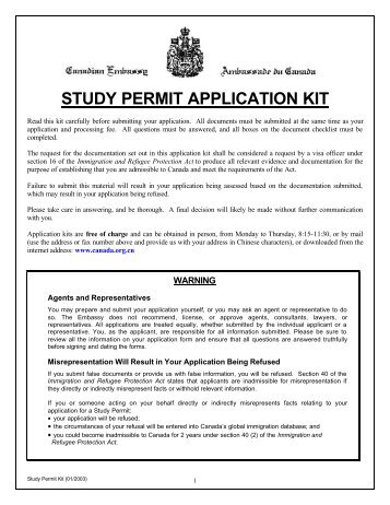 STUDY PERMIT APPLICATION KIT - Kintrust.com