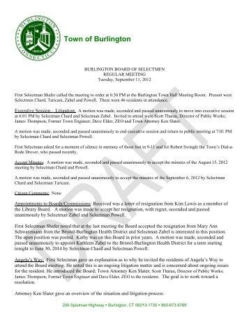 09/11/12 - Meeting Minutes - Town of Burlington