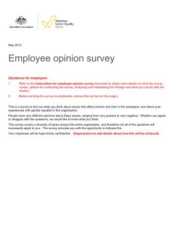Employee opinion survey - The Workplace Gender Equality Agency