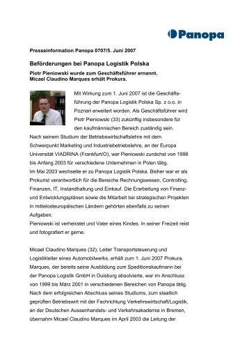 Beförderungen bei Panopa Logistik Polska