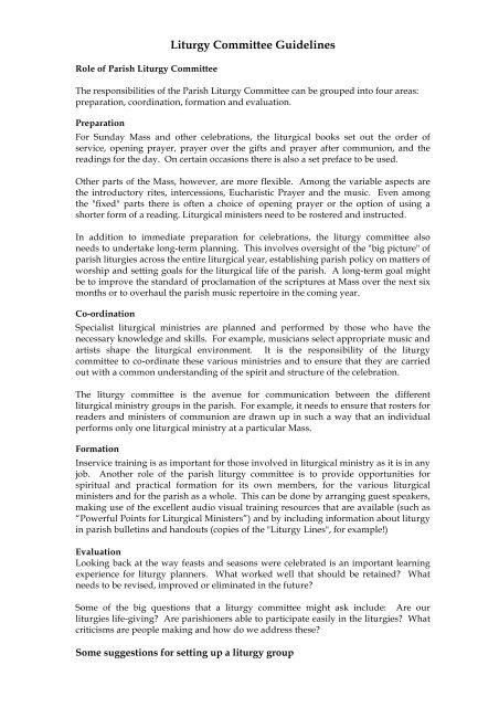 Download Liturgy Committee Guidelines - Liturgy Brisbane