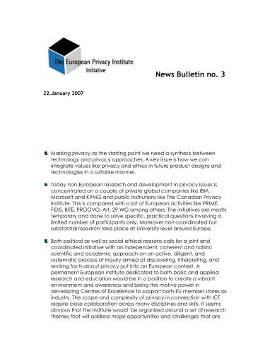News Bulletin no. 3 - ICMCC