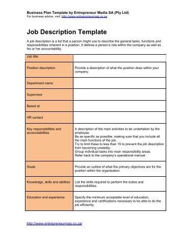 a4c job description template