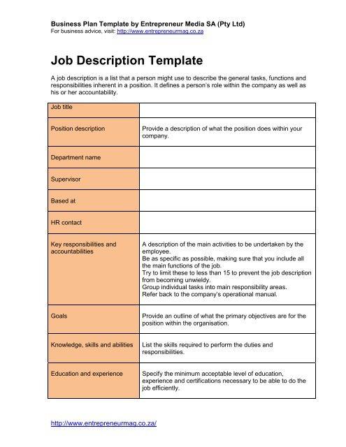 Download Pdf Job Description Template