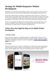Strategy for Mobile Responsive Website Development