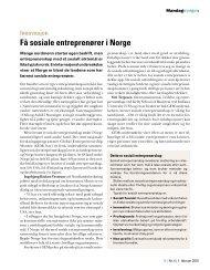 Få sosiale entreprenører i Norge - Stiftelsen Soria Moria