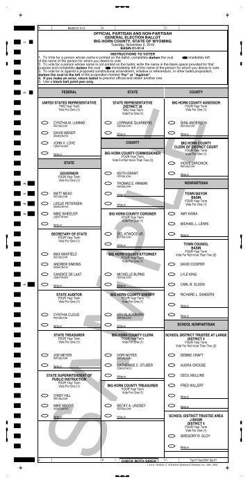 official partisan and non-partisan general election ballot big horn ...