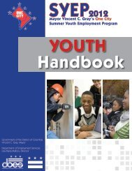 SYEP 2012 Youth Handbook - District of Columbia Department of ...