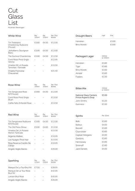 Cut glass menu.indd - The National Glass Centre