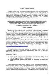 výzvu na predloženie ponúk - Telekomunikačný úrad SR