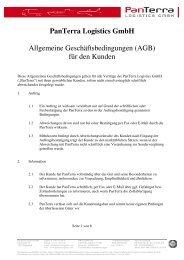 PanTerra Logistics GmbH Allgemeine Geschäftsbedingungen (AGB ...