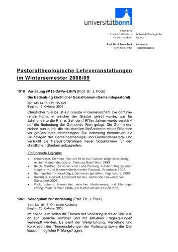 Pastoraltheologische Lehrveranstaltungen im Wintersemester 2008/09