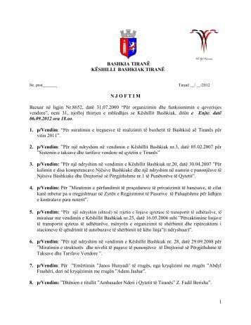 Njoftimi i Mbledhjes së Këshillit Bashkiak ... - Bashkia e Tiranes