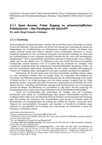 2.1.1 Open Access. Freier Zugang zu wissenschaftlichen ...
