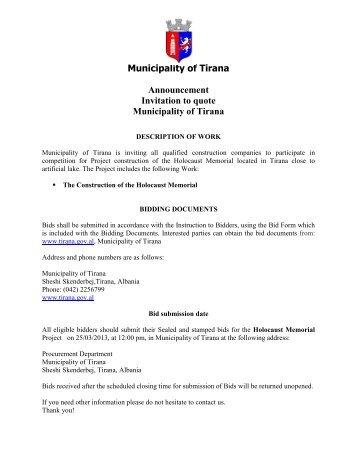 Invitation to bid - Ftese per oferte (Anglisht - Shqip) - Bashkia e Tiranes