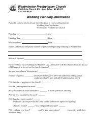 Westminster Presbyterian Church Wedding Planning Information