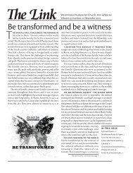 Be transformed and be a witness - Westminster Presbyterian Church
