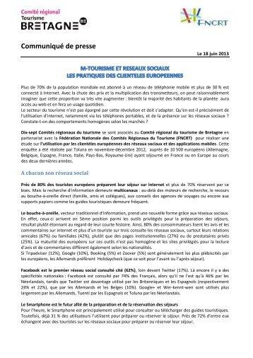 Mtourisme et les réseaux sociaux - Observatoire du Tourisme d'Alsace