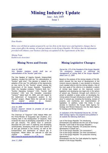 Mining Updates, Issue #1, June-July 2009 - Kalikova & Associates