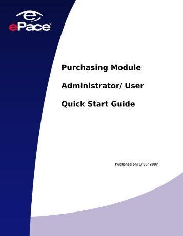 Purchasing Module Administrator/User Quick Start Guide