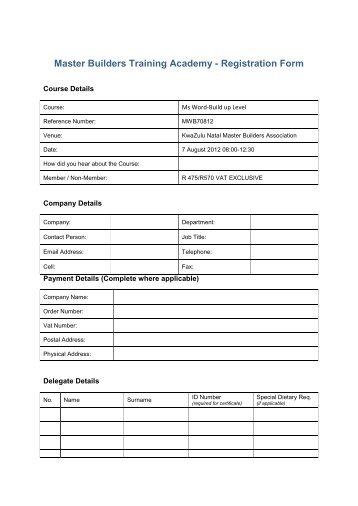 Master Builders Training Academy - Registration Form