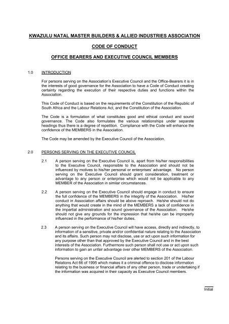 Kwazulu Natal Master Builders Allied Industries Association Code