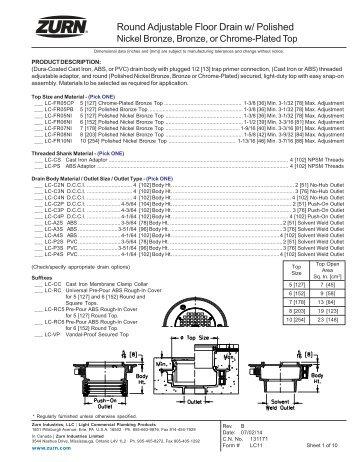 Round Adjustable Floor Drain w - Zurn