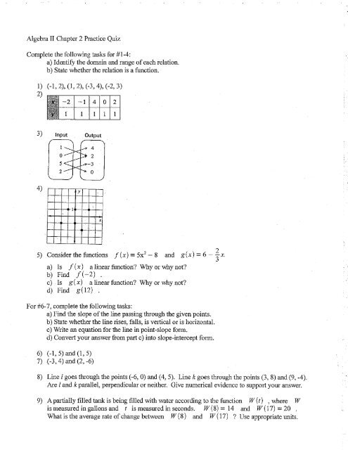 Chapter 4 Quiz 1 Algebra 2 Answers