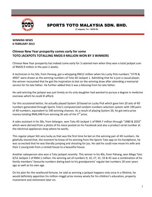 Toto jackpots totaling RM20 9 million won by - Sports Toto