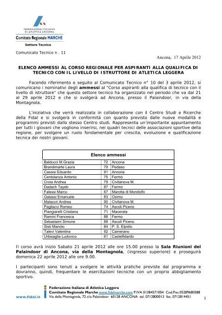 Comunicato n. 11/2012 - ASA ASCOLI
