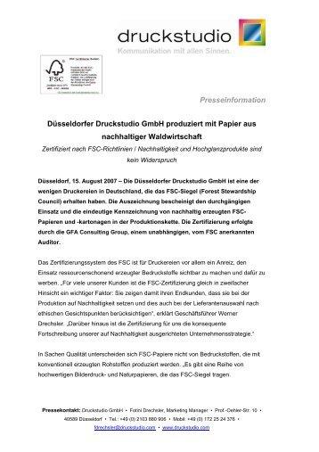 Presseinformation Düsseldorfer Druckstudio Gmbh produziert mit ...