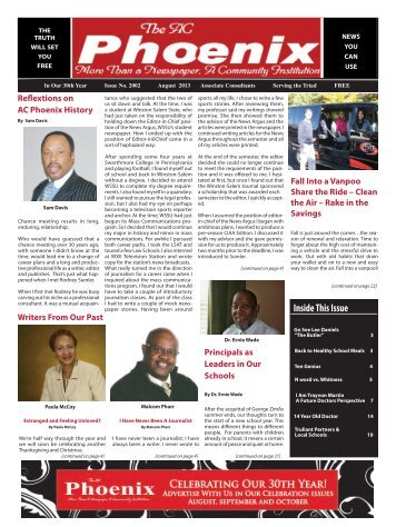 The AC Phoenix: More than a Newspaper, a Community Institution -- Issue No. 2002, August 2013