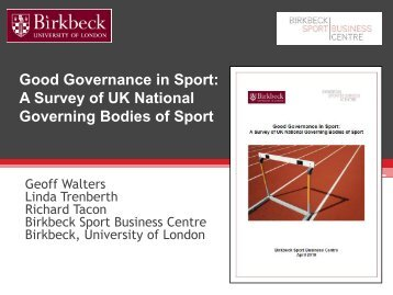 NGB report - Birkbeck Sport Business Centre