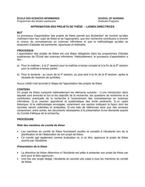APPROBATION DES PROJETS DE THÈSE – LIGNES ...