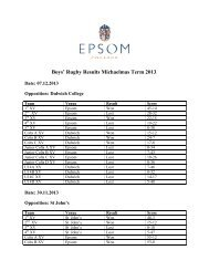 Boys' Rugby Results Michaelmas Term 2013. - Epsom College