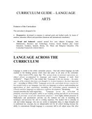 curriculum guide – language arts language across the curriculum