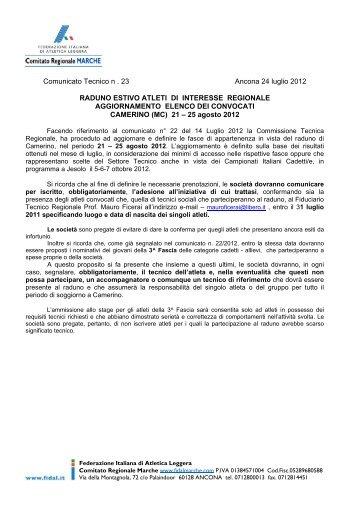 Comunicato Tecnico n - ASA ASCOLI