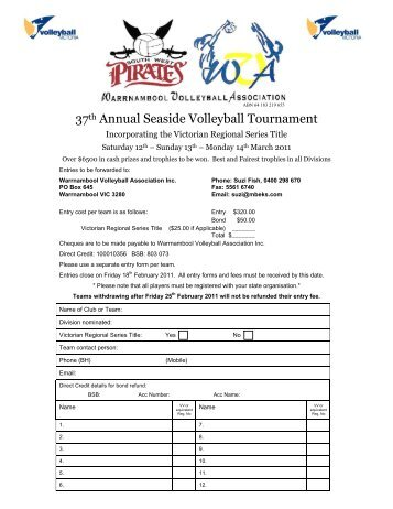 entry form & tournament regulations - Volleyball Victoria