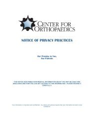NOTICE OF PRIVACY PRACTICES - Centerforortho.com