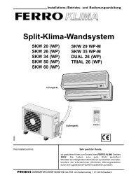 Split-Klima-Wandsystem - ferro wärmetechnik