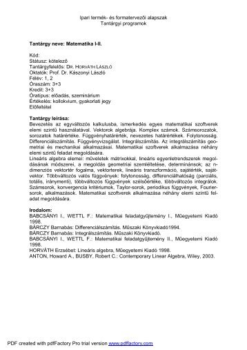 Ipari termék- és formatervezői alapszak Tantárgyi programok ...