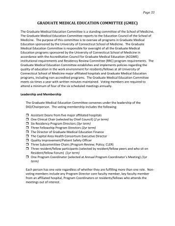 graduate medical education committee - Residency and Fellowship ...