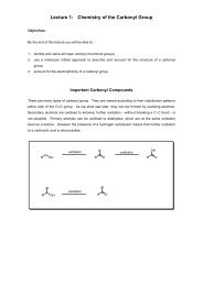 Lecture 1: Chemistry of the Carbonyl Group