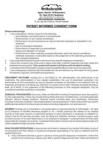 PATIENT INFORMED CONSENT FORM - Orthohealth