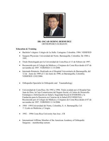 DR. OSCAR OEDI G BERMUDEZ ORTHOPEDICS ... - Med Journeys