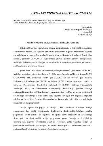 LFA valdes sēde 2010. gada 2. jūnijā - Latvijas Fizioterapeitu ...